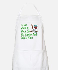 Work On Garden And Drink Wine Apron
