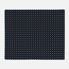 Turquoise and Red Polka Dots on Black Throw Blanke