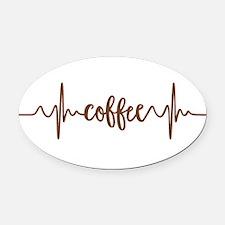 COFFEE HEARTBEAT Oval Car Magnet