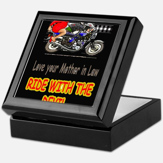 motorcycle rider with mother in law Keepsake Box