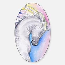 Cool Arabian horse running fine art watercolor painting Sticker (Oval)