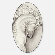 Arabian horse running fine art watercolor painting Sticker (Oval)