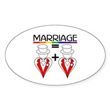 MARRIAGE EQUALS HEART PLUS HE Oval Decal