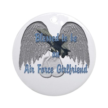 Blessed Air Force Girlfriend Ornament (Round)