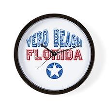 Vero Beach Florida Patriotic Distressed Wall Clock