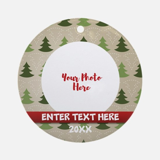 Rustic Personalized Round Ornament