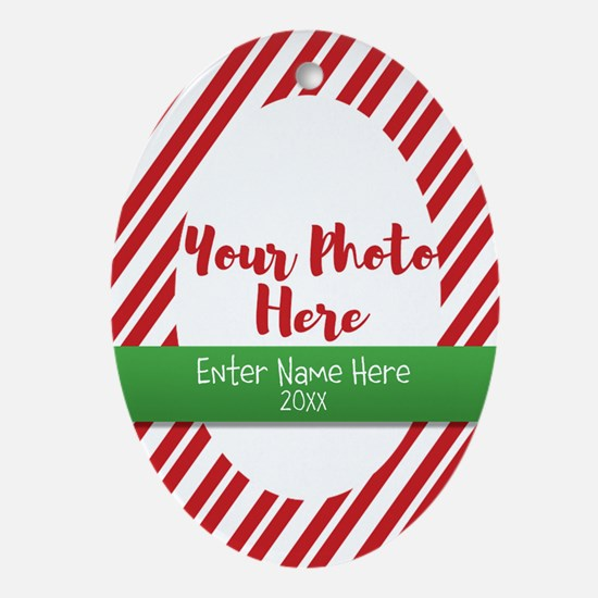 Candy Cane Personalized Oval Ornament