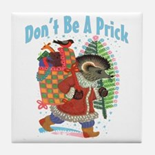 Naughty Christmas hedgehog Santa Tile Coaster
