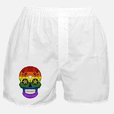 Gay Pride Rainbow Flag Sugar Skull with Roses Boxe