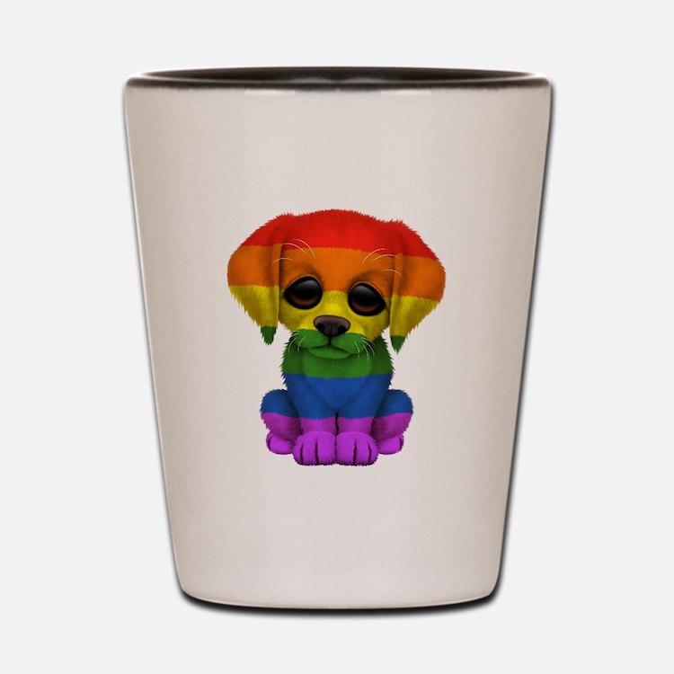 Cute Gay Pride Rainbow Flag Puppy Dog Shot Glass