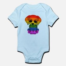 Cute Gay Pride Rainbow Flag Puppy Dog Body Suit