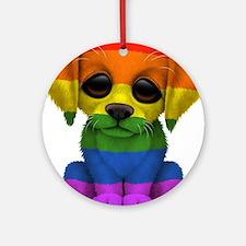 Cute Gay Pride Rainbow Flag Puppy Dog Round Orname