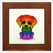 Cute Gay Pride Rainbow Flag Puppy Dog Framed Tile