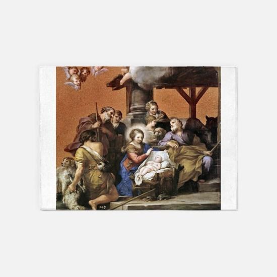 Nativity by Pietro da Cortona 5'x7'Area Rug