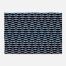 Red Black and Turquoise Chevron Pattern 5'x7'Area