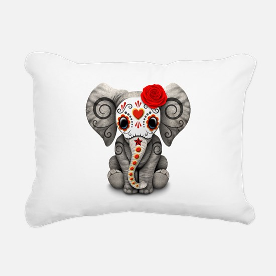 Red Day of the Dead Sugar Skull Baby Elephant Rect