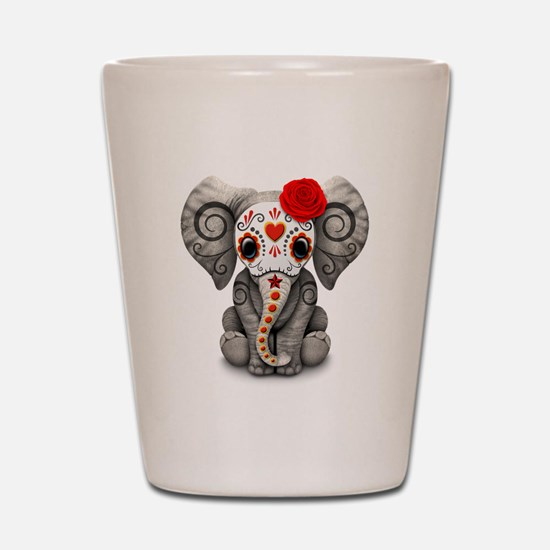 Red Day of the Dead Sugar Skull Baby Elephant Shot