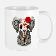 Red Day of the Dead Sugar Skull Baby Elephant Mugs
