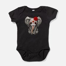 Red Day of the Dead Sugar Skull Baby Elephant Baby