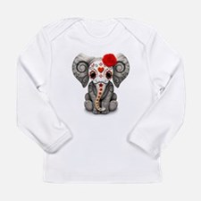 Red Day of the Dead Sugar Skull Baby Elephant Long