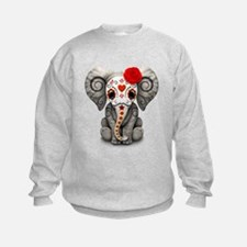 Red Day of the Dead Sugar Skull Baby Elephant Jump