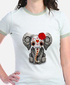 Red Day of the Dead Sugar Skull Baby Elephant T-Sh