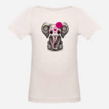 Pink Day of the Dead Sugar Skull Baby Elephant T-S