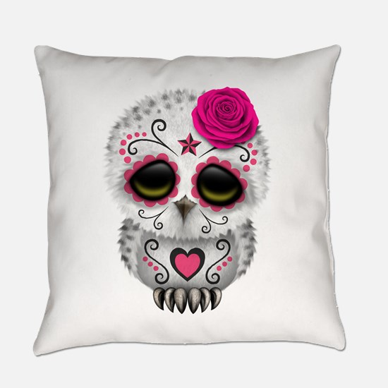 Pink Day of the Dead Sugar Skull Owl Everyday Pill