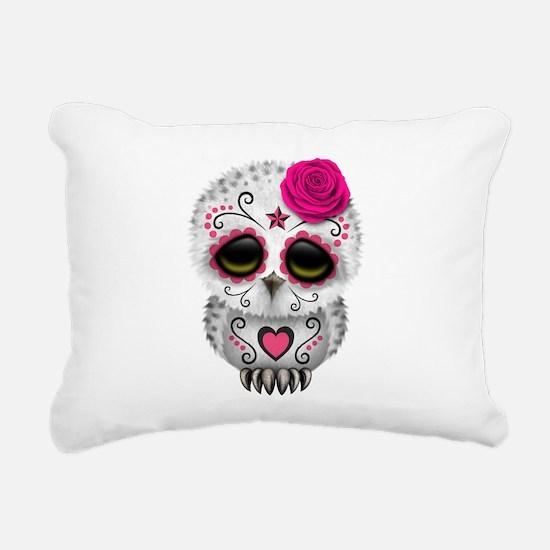 Pink Day of the Dead Sugar Skull Owl Rectangular C