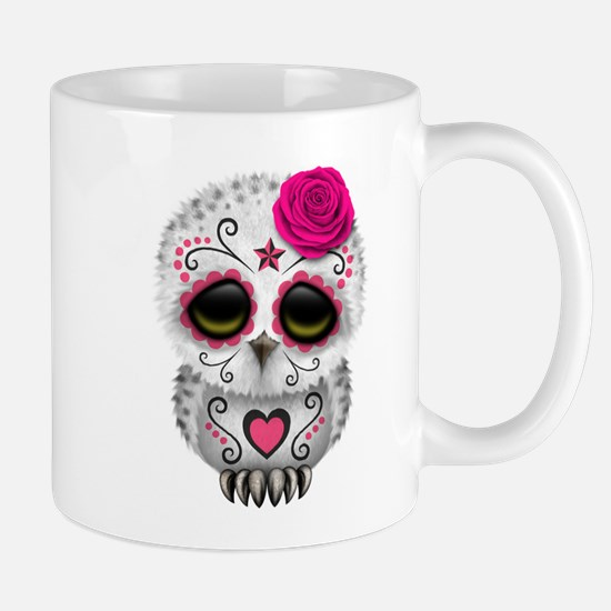 Pink Day of the Dead Sugar Skull Owl Mugs