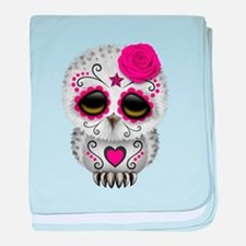 Pink Day of the Dead Sugar Skull Owl baby blanket