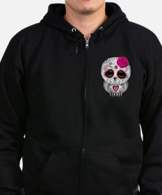 Pink Day of the Dead Sugar Skull Owl Zipped Hoodie