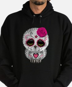 Pink Day of the Dead Sugar Skull Owl Hoodie