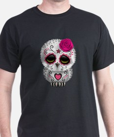 Pink Day of the Dead Sugar Skull Owl T-Shirt