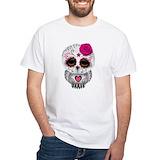 Sugar skull owl Mens White T-shirts