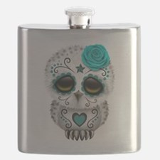 Cute Teal Blue Day of the Dead Sugar Skull Owl Fla