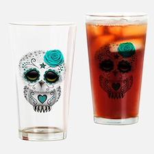 Cute Teal Blue Day of the Dead Sugar Skull Owl Dri