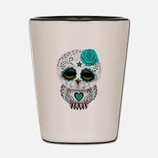 Cute Teal Blue Day of the Dead Sugar Skull Owl Sho