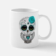 Cute Teal Blue Day of the Dead Sugar Skull Owl Mug