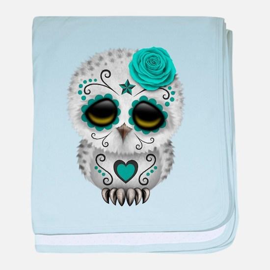Cute Teal Blue Day of the Dead Sugar Skull Owl bab