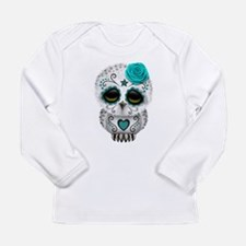 Cute Teal Blue Day of the Dead Sugar Skull Owl Lon