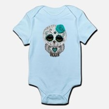 Cute Teal Blue Day of the Dead Sugar Skull Owl Bod