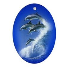 Jumping Dolphins Oval Ornament