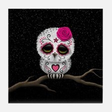 Pink Day of the Dead Sugar Skull Owl Tile Coaster