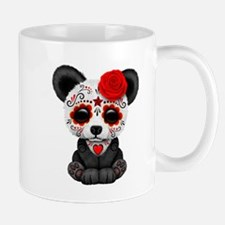 Red Day of the Dead Sugar Skull Panda Mugs