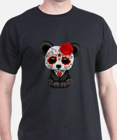 Red Day of the Dead Sugar Skull Panda T-Shirt