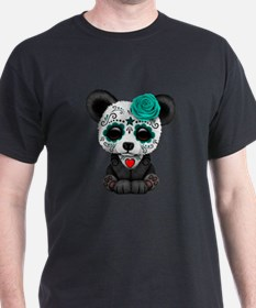 Teal Blue Day of the Dead Sugar Skull Panda T-Shir