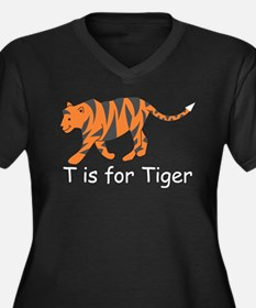 T is for Tiger Women's Plus Size V-Neck Dark T-Shi