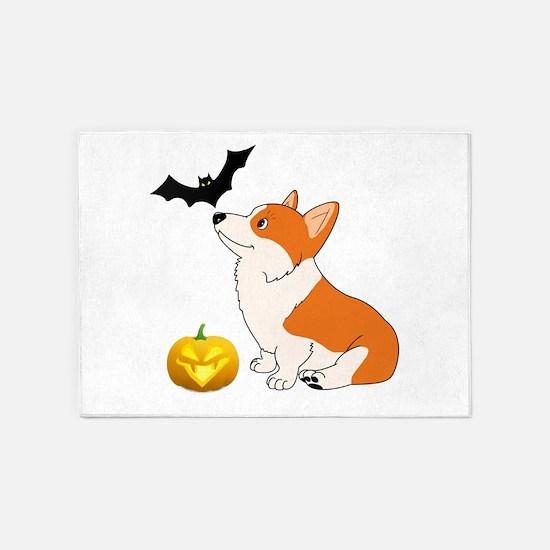 Halloween Corgi 5'x7'Area Rug
