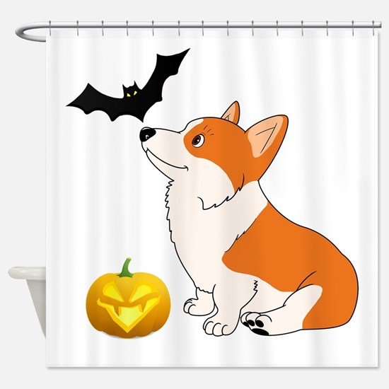 Halloween Corgi Shower Curtain